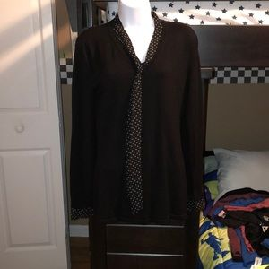 Black sweater top with detail neck. Size M